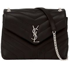 Saint Laurent Loulou Monogram Small Y-Quilted Leather Chain Bag (106.275 RUB) ❤ liked on Polyvore featuring bags, handbags, shoulder bags, black, monogram shoulder bag, monogrammed handbags, yves saint laurent, shoulder bag purse and chain handbags