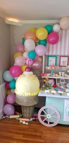 The party decorations at this Ice Cream Birthday Party are gorgeous! See more pa… The party decorations at this Ice Ice Cream Party, Ice Cream Kids, Ice Cream Theme, 50th Birthday Party Decorations, Birthday Party Snacks, 4th Birthday Parties, Diy Party Decorations, 3rd Birthday, Dessert Party