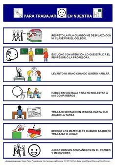 """Tablero de comunicación aumentativa con pictogramas de ARASAAC: """"Consejos para trabajar contentos en nuestra clase"""""""