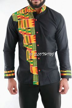 Men shirt with half shaped kente fabric African Attire, African Wear, African Dress, African Shirts For Men, African Clothing For Men, Latest African Fashion Dresses, African Men Fashion, Mens Traditional Wear, Ankara Styles For Men