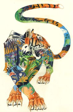 tiger - awesome illustrations of the habitat within the animal - daniel mackie