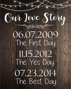 Our Love Story sign. rustic wedding dates sign. engagement date sign. important family dates. first day yes best. decorations wedding signs Our Love Story rustic sign Wedding Date Sign, Home Wedding, Plan Your Wedding, Wedding Tips, Wedding Bride, Destination Wedding, Dream Wedding, Luxury Wedding, Rustic Wedding Signs