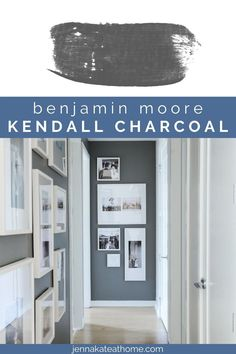 Looking to add some drama to a wall? Kendall Charcoal is the perfect dark slate gray that you're going to love! Warm Gray Paint, Best Gray Paint Color, Favorite Paint Colors, Charcoal Paint, Benjamin Moore White, Benjamin Moore Chelsea Gray, Kendall Charcoal, Accent Wall Colors, Warm And Cool Colors
