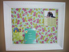 Pretty, Vintage Framed Fabric-Covered Corkboard...    Very cute... Another reason to find my Xacto Knife!