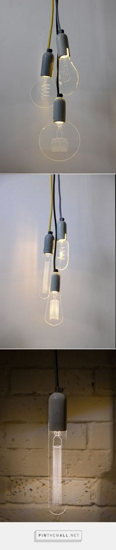 "iLLuminite by SturlesiDesign   A unique and innovative take-off from the ""carbon bulbs"". Our bulbs are 100% made in-house from a durable concrete base, an efficient LED bulb and 6 interchangeable laser engraved acrylic glass modules."