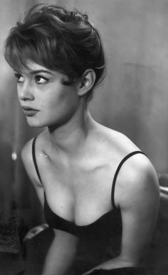 Brigitte Bardot   hollywood starlet   vintage black & white photography   short hair   boy cut   cleavage   on set   look