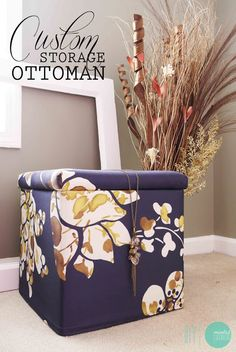DIY Custom Storage Ottoman | Shelterness    actually uses a staple gun, not a sewing machine, but who cares
