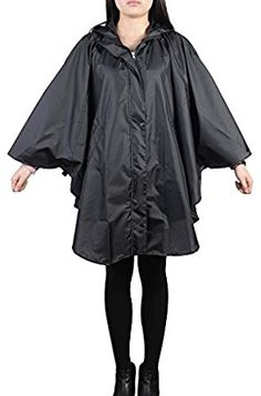 Amazon.com: QZUnique Women's Waterproof Packable Rain Jacket Batwing-sleeved Poncho Raincoat Black: Clothing