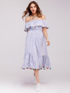 Flounce Layered Neckline Tassel Trim Striped Dress