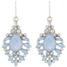boucles d'oreilles en pierres bleu ciel et blanche accessorize