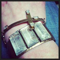 Kristin Hayes Jewelry, stacked vintage bracelets.