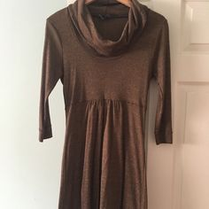 Beautiful brown metallic maternity dress Great condition bronze metallic look , above the knee Michael Stars Dresses Midi