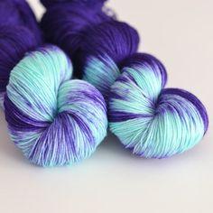 Hand Dyed Sock Fingering Yarn - Superwash Merino / Nylon - 463 yards - Hecate - Indigo Purple Blue and Turquoise