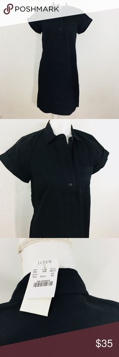 J. Crew G5313 Popover Cotton Shirt Dress Black Armpit to armpit flat across is 18.5 inches Length is 35 inches from shoulder to hem In excellent condition. New with tags. Release date summer 2017 100% cotton Check measurements carefully to ensure proper fit. All items are shipped within 24 hours except Sundays. Thank you for supporting my small business. C38/5-3-18/5 J. Crew Factory Dresses