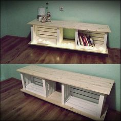 Super DIY TV stand ideas for your weekend house project deko decoration… - Diydekorationhomes.clubSuper DIY TV Stand Ideas For Your Weekend Home Project Decor decoration . Wood Crates, Wood Pallets, Wooden Crates Tv Stand, Old Tv Stands, Pallet Tv Stands, Diy Tv Stand, Crate Tv Stand, Crate Bench, Crate Table