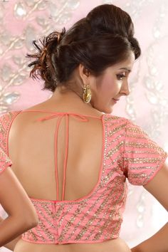 #Pink raw #silk Stone worked #blouse in u neck -BL517