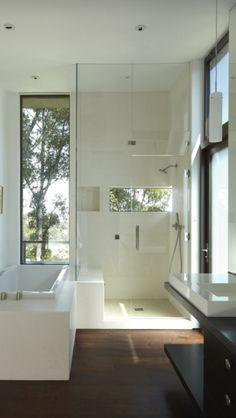 Bathroom interior design homes bathtub shower sink tile gay masculine decor That window!