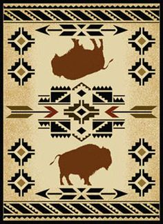 "The ""South West Buffalo"" floor rug gives a western lodge feel to any home. Its south western design featuring buffalo with a Native American motif give this rug a unique look. Native American Blanket, Native American Rugs, Native American Patterns, Native American Symbols, Native American Design, Native American Crafts, Motif Navajo, Navajo Rugs, American Indian Decor"