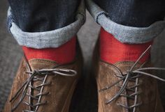 red sock detail.