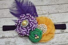 Le Mardi Gras Purple Yellow and Green Headband Purple by RuntCakes