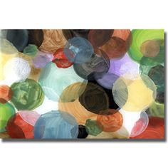 A way to make a big art statement is to hang two of the same abstracts side by side to create a linear work.  You simply invert the 2nd of the two to to create a randrom repeat.  Scott Hile 'Crowded Universe' Canvas Art | Overstock.com