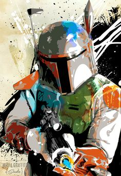 Star Wars poster, Star Wars art of Boba Fett, Sci-Fi movie art, Art for kids room, Canvas art print available in 18x24 or 24x36.