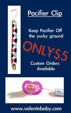 Nautical Dot Boy Pacifier Clip, Binky Clip, Keep Pacifier off Floor, Baby Shower… Boy Pacifier, Pacifier Clips, Binky, Nautical, Dots, Baby Shower, Floor, Handmade Gifts, Shop