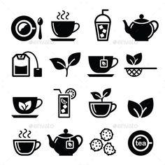 Tea and Ice Tea Icons Set  (Vector EPS, AI Illustrator, CS, afternoon, beverage, biscuits, cold, cookies, cup, drink, fresh, glass, green tea, herb, herbal, hot, ice tea, icon, leaf, mint, mug, pot, saucer, sieve strainer, spoon, steam, tea, tea bag, tea leaves, vector)
