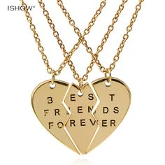 New collier necklace heart pendant pieces broken three best friend forever necklace women necklace jewelry collares mujer Bff Bracelets, Bff Necklaces, Best Friend Necklaces, Best Friend Jewelry, Friendship Necklaces, Bff Gifts, Best Friend Gifts, Gifts For Mom, Sister Gifts