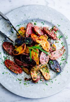 Roasted Fingerling Potatoes with Tarragon-Shallot Butter