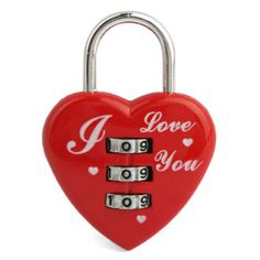 luggage padlock Red Heart