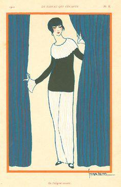 Georges Lepape's artwork titled Le Rideau Qui S'Ecarte presented by Artophile