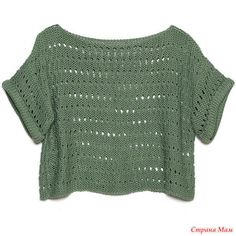 Diana Sweater Gtq) ❤ Liked On Polyv - Diy Crafts Crop Top Sweater, Sweater Shirt, Green Sweater, Green Shirt, Crop Shirt, Easy Crochet, Knit Crochet, Pull Grosse Maille, Knitting Patterns