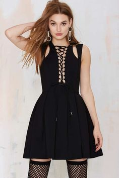 Nasty Gal We've Got Tonight Lace-Up Dress - Going Out | LBD | Fit-n-Flare | Dresses | Dresses | Clothes | All