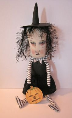 Halloween witch art doll | Flickr - Photo Sharing!  I love Sandy Mastroni's dolls. She must have a slightly twisted sense of humor