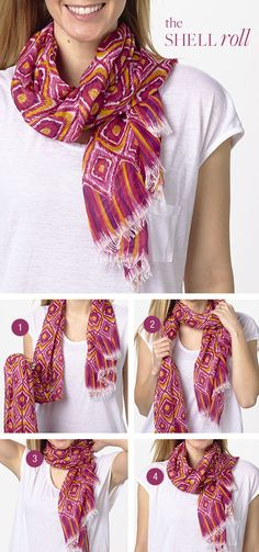 Cute way to tie a scarf Tie the knot: the Shell Roll, featuring the Soft Fringe Scarf in Clementine Ikat Ways To Tie Scarves, Ways To Wear A Scarf, How To Wear Scarves, Fall Fashion Trends, Autumn Fashion, Scarf Knots, Diy Vetement, Look Fashion, Fashion Tips