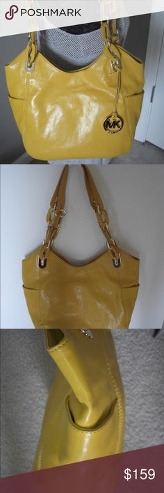 b7f181500df533 Michael Kors Patent Lilly Tote Bag Glossy patent leather tote with chunky  chain embellished handles with