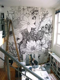 Floral statement wall