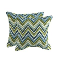 allen + roth Set of 2 Sunbrella Fischer Oasis UV-Protected Square Outdoor Decorative Pillows