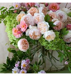 Pink David Austin Rose Bouquet with Hydrangeas