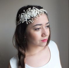 Hairbands – pearl beaded tiara Hand beaded Wedding tiara – a unique product by WEDDINGGloves on DaWanda