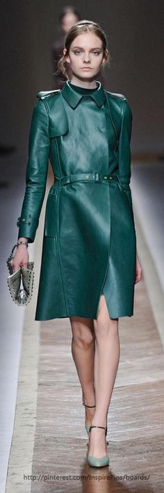 Valentino leather trench coat at Paris Fashion Week Fall 2011 - StyleBistro
