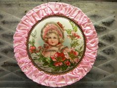 Antique French Candy Box with Pink Silk Edging Child Surrounded by Roses with Celluloid Top Candy Containers, Candy Boxes, French Candy, Candy Labels, Paper Lace, Vintage Candy, Altered Bottles, Aged To Perfection, Pink Room