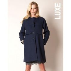 Navy Wool and Cashmere Luxe Maternity Coat, Seraphine
