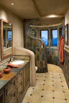 Southwestern Master Bathroom with Raised panel, arizona tile slate in earth, arizona tile ankara travertine, Wall sconce