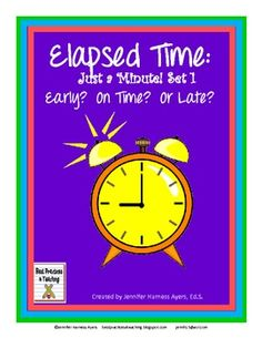 $3 I am really excited to be able to share these cards with you! In this download you will receive 20 task cards/quiz cards which help students practice telling time using the skill of elapsed time. It will meet the 3rd and 4th grade Common Core standards: