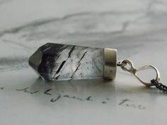 Black Rutilated Quartz Crystal Point Pendant Necklace, Oxidized Sterling Silver, Modern, Minimalist, Gemstone Necklace by kalypsocreations on Etsy