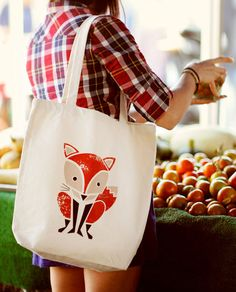 Red Fox Canvas Tote Bag - Order yours at Boardman Printing Tod Bag, Cotton Tote Bags, Reusable Tote Bags, Fox Crafts, Cute Bags, Screen Printing, Purses And Bags, Shopping Bag, Creations