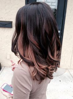 Black Hair with Rose Gold Highlights Hairstyles.
