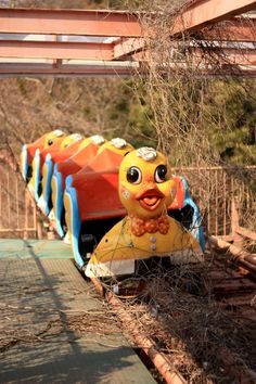 Abandoned children's ride at an amusement park.
